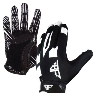 BADASS Stretch Fit American Football Receiver Handschuhe - schwarz/weiß XS/S