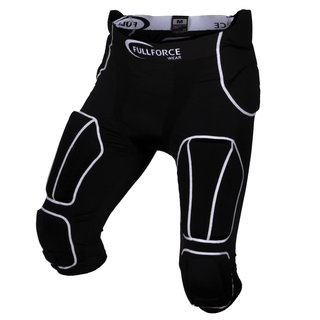 Full Force American Football Herren Hose 7 Pocket mit 7 eingenähten Pads - schwarz Gr. S