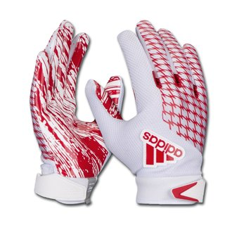 adidas adiFAST 2.0 American Football Receiver Handschuhe, Jugend - weiß/rot Gr. YL