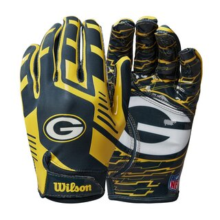 Wilson NFL Stretch Fit Youth Receiver Handschuhe Team Green Bay Packers