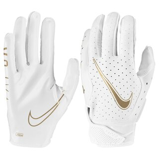Nike Vapor Jet 6.0 Metallic Edition, American Football Receiver Handschuhe - weiß/gold Gr. XL